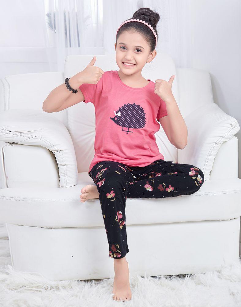 Pink Cartoon Printed Pyjama Set