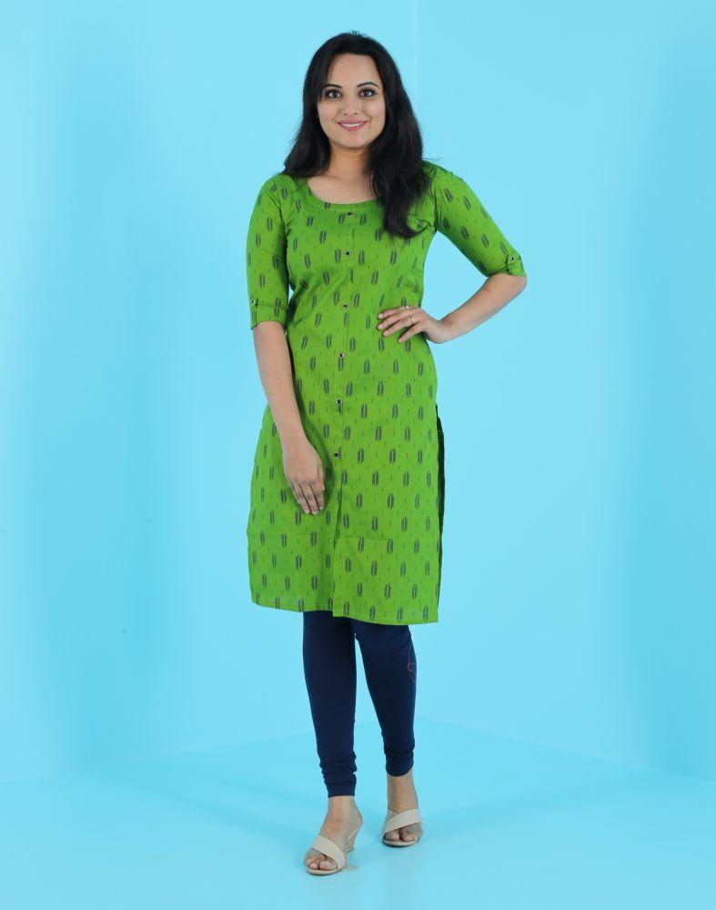 Hosh Green Abstract Cotton Straight Women Kurti