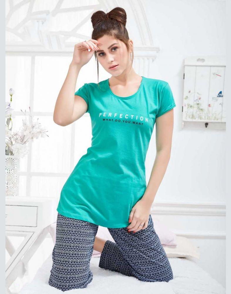 Sweet Night Green Cotton Women Night Wear