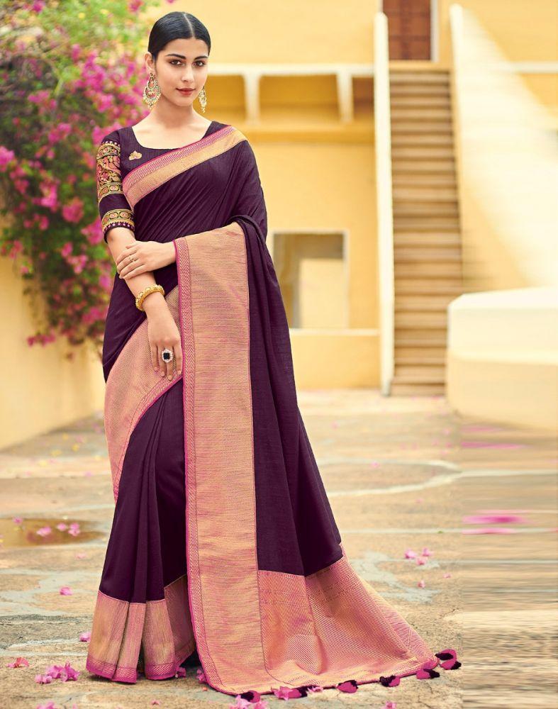 Dark Purple Plain Bagalpuri Embroidery Saree