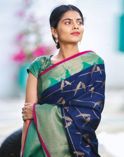 Hosh Dark Blue Novelty Cotton Silk Banarasi Women Saree