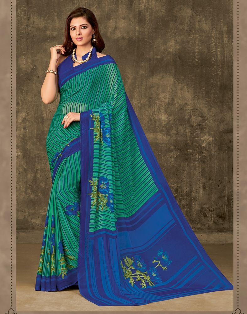 Green Chiffon Printed Saree