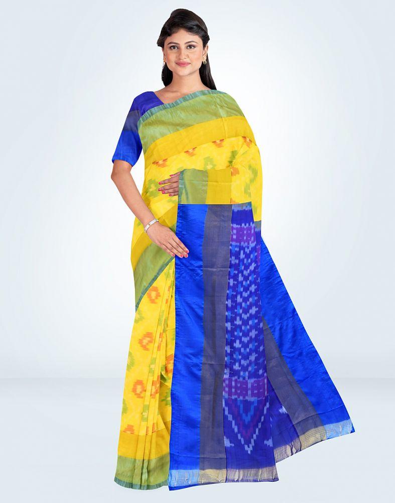 Hosh Yellow Ikkat Silk Printed Women Saree