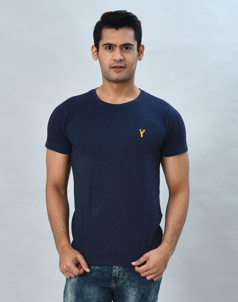 Blue Round-Neck Slim Fit Men T-Shirt