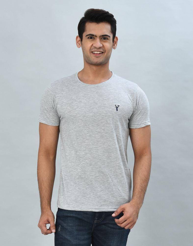 Silver Round-Neck Slim Fit Men T-Shirt